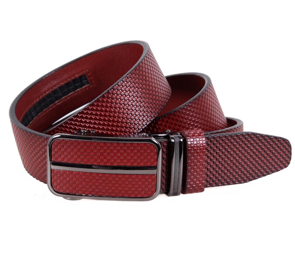 Мужской ремень из натуральной кожи под брюки MGA101-6 красный