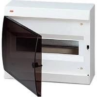 Щит пластиковый АВВ BASIC E навесной, с клеммами, 12мод., прозрачная дверь, BEW402212