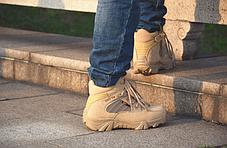 Низкие Песочные тактические ботинки короткие берцы Delta Combat Cordura, фото 3