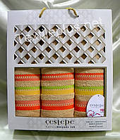 Комплект махровых полотенец Cestepe Vip cotton - (баня+2для лица) Турция - Разные цвета