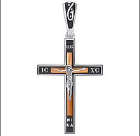 """Крестик из серебра с золотом и эмалью """"Иисус Христос"""""""
