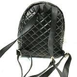 Городские рюкзаки кожзам опт (черный стеганный)20*25, фото 2