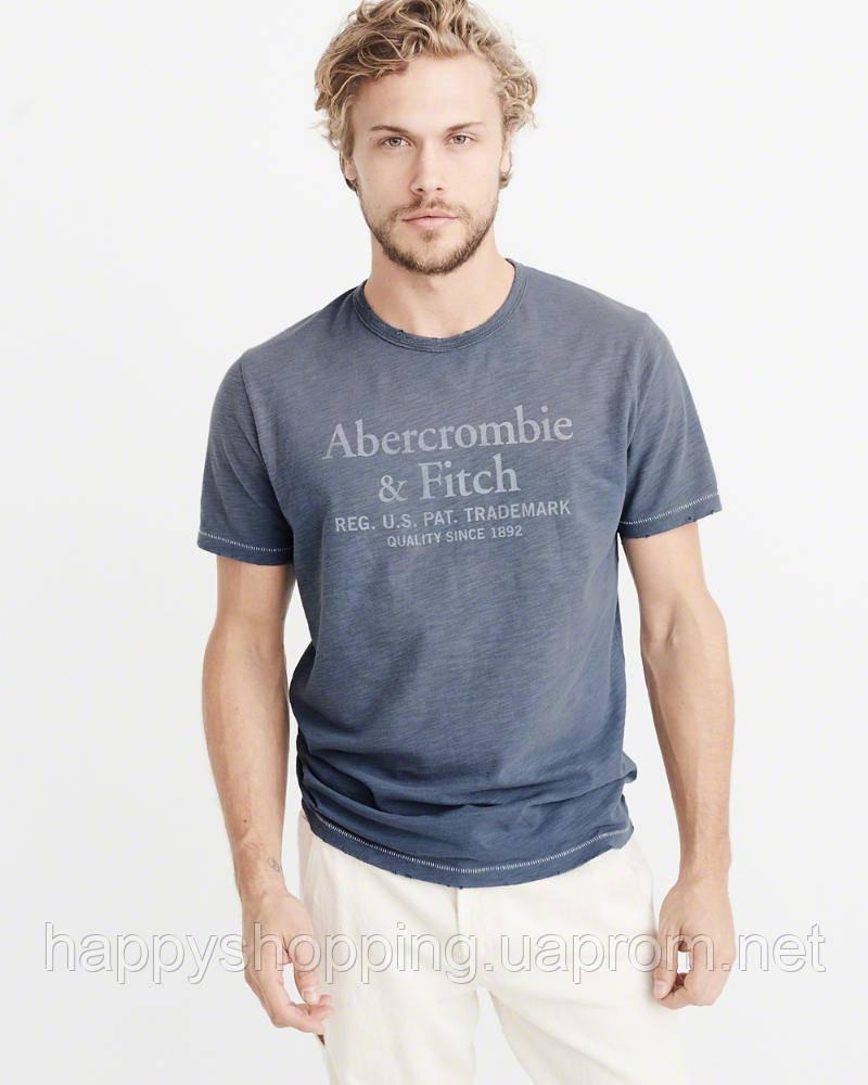Мужская синяя  футболка с принтом Abercrombie & Fitch