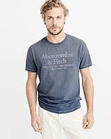 Мужская синяя  футболка с принтом Abercrombie & Fitch, фото 1