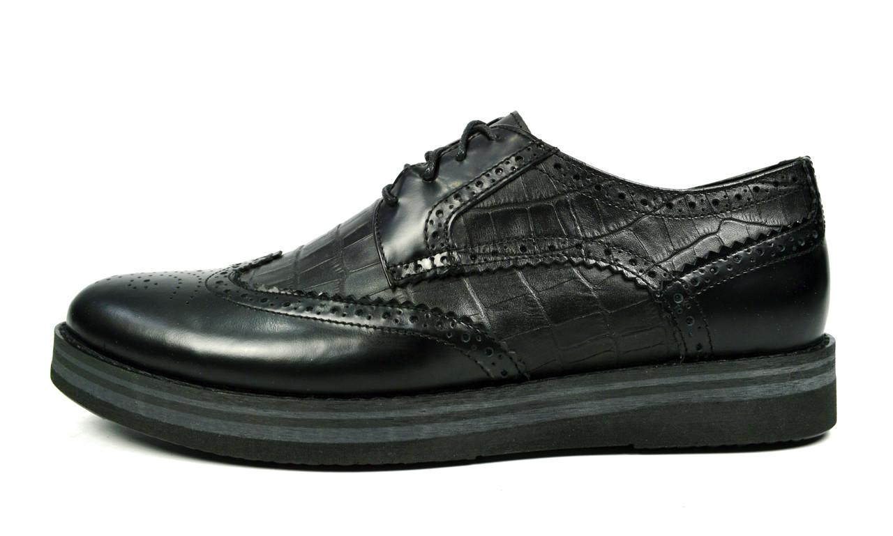 Черные мужские кожаные туфли-броги VLAD XL без каблука