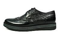 Черные мужские кожаные туфли-броги VLAD XL без каблука, фото 1
