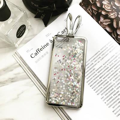 ЧехолнакладканаiPhone7 Plus/8plusсушкамииплавающимиблесткамивнутри,серебристый