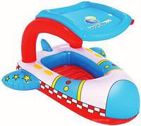 Детский надувной плотик Самолет с защитой от солнца / Надувной плот / Надувная платформа для плавания, фото 1