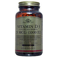 Вітамін Д3, Vitamin D3, Solgar, 1000 МО, 250 капсул