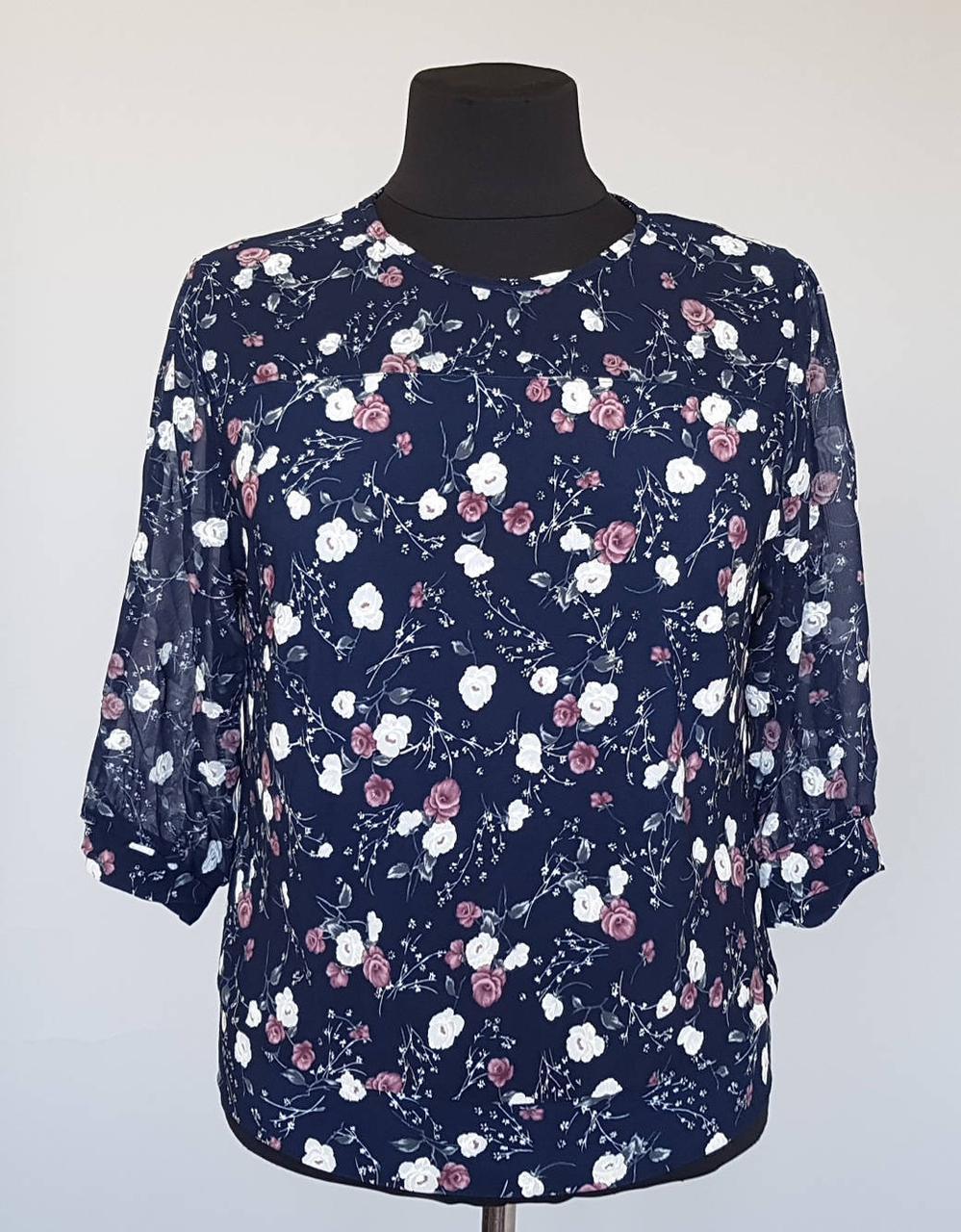 Блузка женская в розочку с шифоновыми рукавами