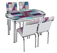 """Розкладний обідній кухонний комплект овальний стіл і стільці """"Бузкова мозаїка"""" ДСП гартоване скло 75*130 Лотос-М"""
