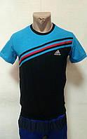 Мужская футболка черно-синяя Adidas склад 7км