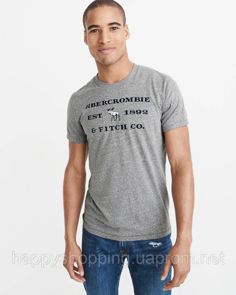 Мужская серая  футболка с принтом Abercrombie & Fitch