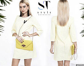 Женское платье, костюмка, р-р 42; 44; 46 (лимонный)