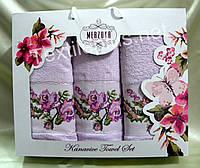 Комплект махровых полотенец с вышивкой - Merzuka Kanavice - (баня+2шт для лица) Турция - Разные цвета