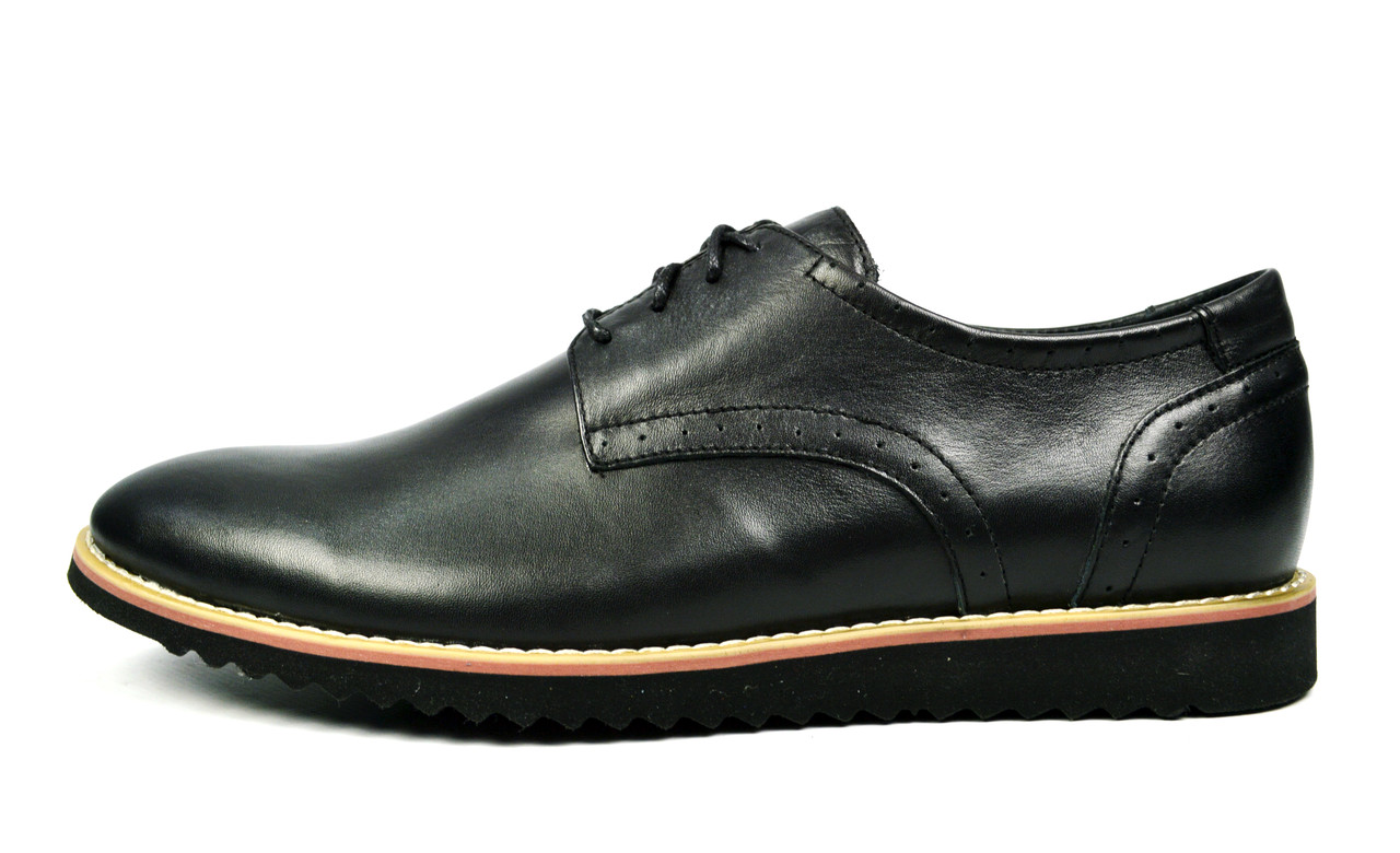 Черные мужские кожаные туфли VLAD XL без каблука