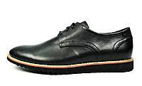 Черные мужские кожаные туфли VLAD XL без каблука, фото 1