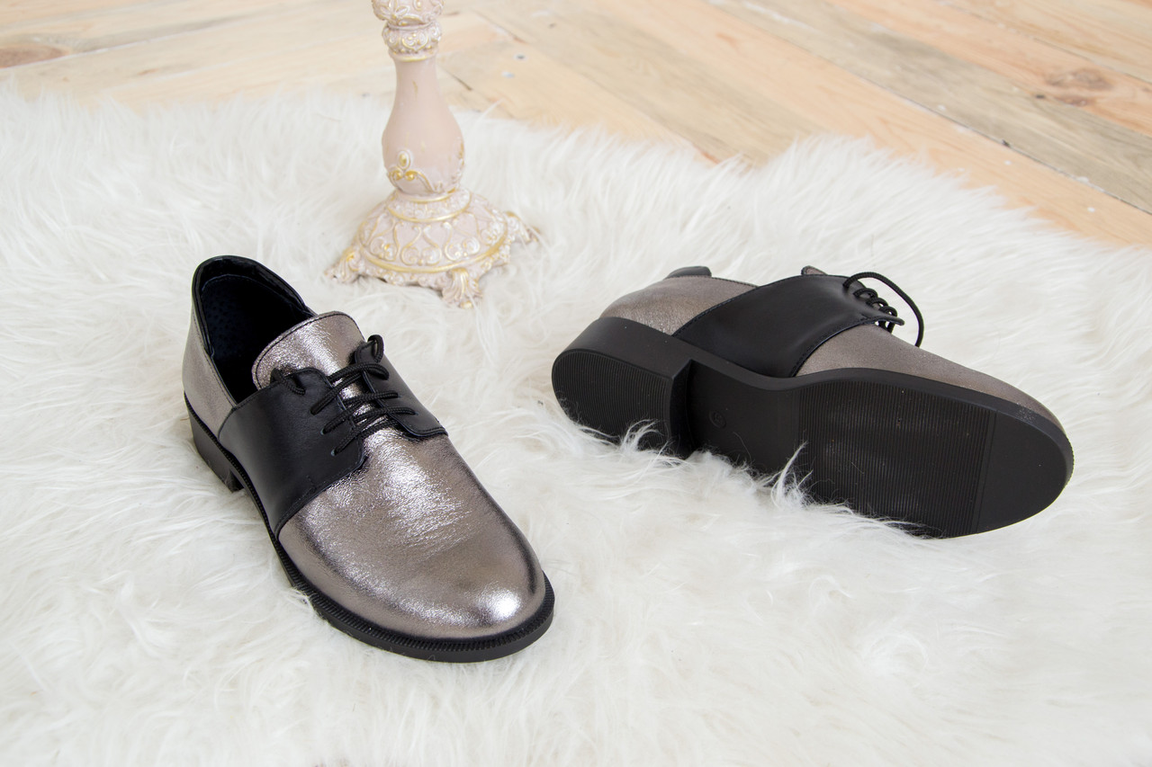 Кожаные туфли на низком ходу никель с черным 36-41 размер