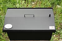 """Коптильня для горячего копчения окрашеная крышка """"Домиком"""" с термометром (400х300х310)"""