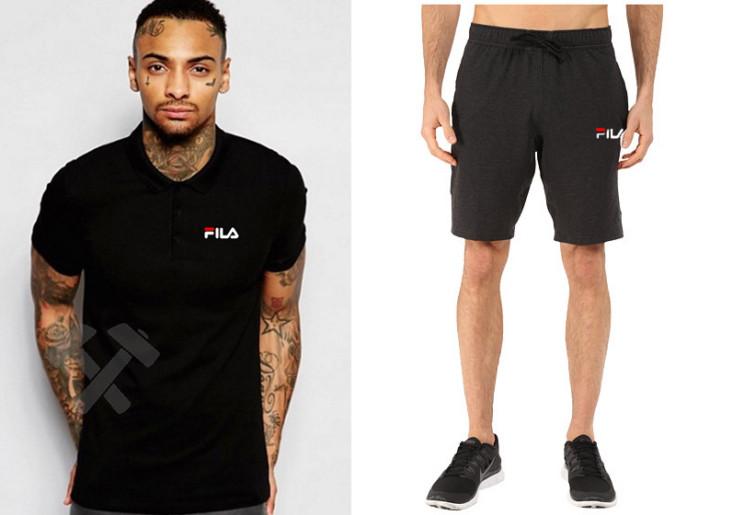Мужской комплект поло/футболка и шорты Фила (Fila), поло и шорты Fila,мужская тенниска, копия
