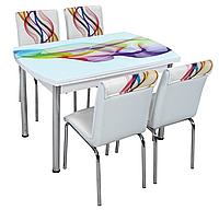 """Комплект кухонный стол и стулья """"OCB 005"""" МДФ каленое стекло 75*120 (Лотос-М)"""