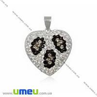 Подвеска из Серебра 925 с кристаллами Preciosa, Сердце белое, 24х24 мм, 1 шт. (POD-005019)