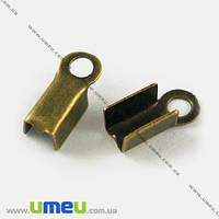 Зажимы, 6х3 мм, Античная бронза, 20 шт. (ZAG-002692)