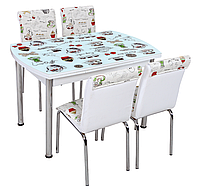 """Раскладной обеденный кухонный комплект полуовальный стол и стулья """"Чайнички"""" ДСП стекло 75*120 Лотос-М"""
