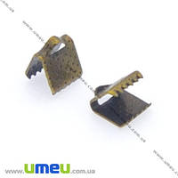 Зажим для лент, 6х8х5 мм, Античная бронза, 1 шт. (ZAG-008441)