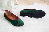Замшевые зеленые женские туфли  под заказ 36-41 размер