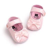 Детские нарядные розовые лаковые пинетки туфельки для крестин девочки, на годик, фото 1