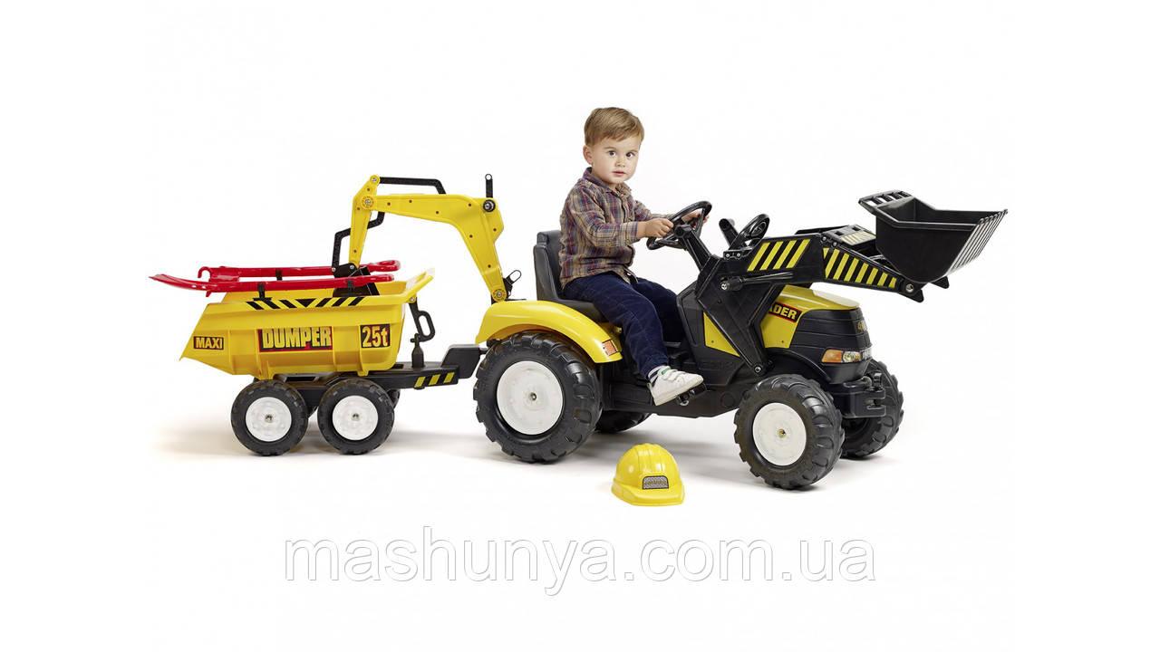 Трактор дитячий педальний Falk 1000WH Powerloader передній ківш екскаватора і причіп