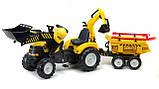Трактор дитячий педальний Falk 1000WH Powerloader передній ківш екскаватора і причіп, фото 4