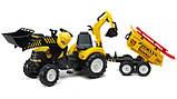 Трактор дитячий педальний Falk 1000WH Powerloader передній ківш екскаватора і причіп, фото 5