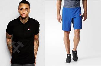 Мужской комплект поло + шорты FILA черного и голубого цвета (люкс копия)