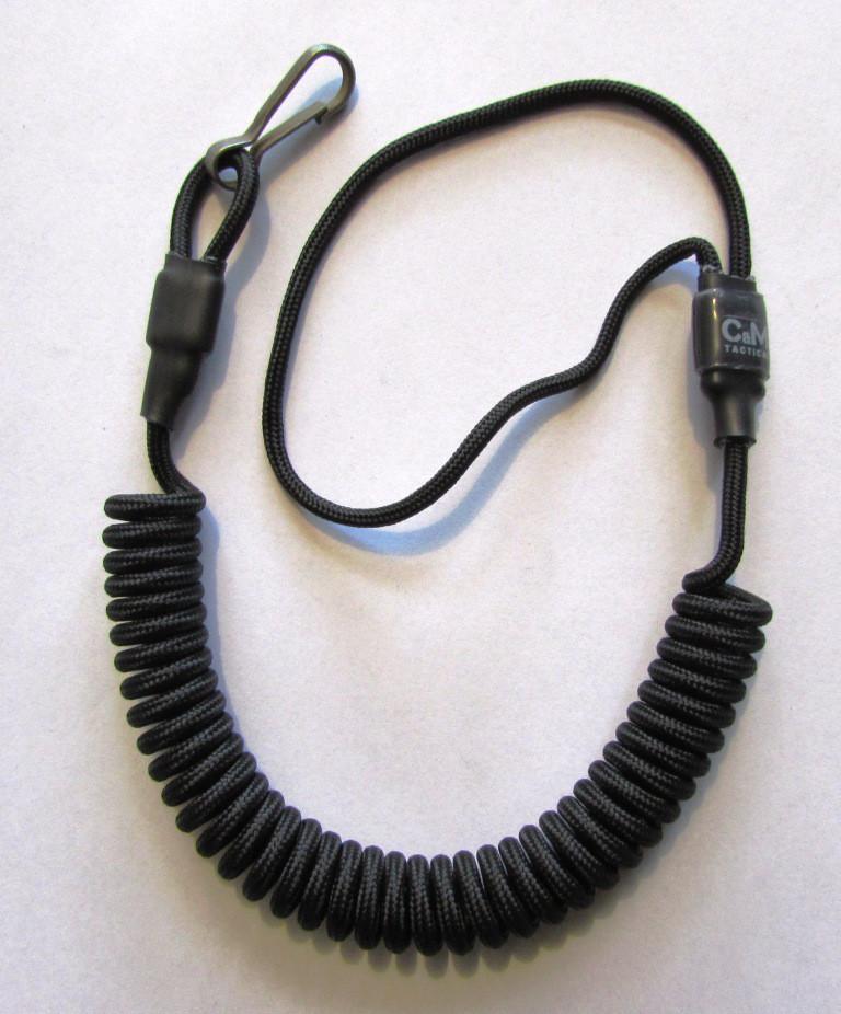 Страховочный, пистолетный шнур (пружинка)  чёрный с карабином