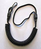 Страховочный, пистолетный шнур (пружинка)  чёрный с карабином, фото 1