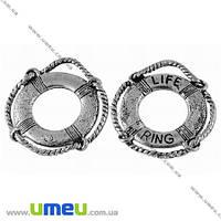 Подвеска металлическая Спасательный круг, Античное серебро, 24х22 мм, 1 шт. (POD-002537)