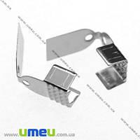 Зажим, 11х6 мм, Темное серебро, 1 шт (ZAG-008077)