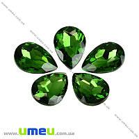 Риволи стеклянный, Капля граненая, 14х10 мм, Зеленый, 1 шт. (KAB-001980)