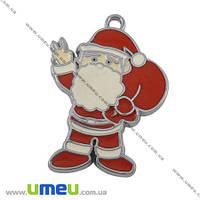 Подвеска металлическая Дед Мороз красный, Темное серебро 40х30 мм, 1 шт. (POD-001263)