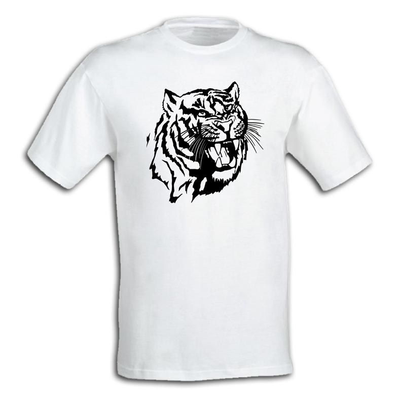 """Біла Футболка чоловіча """"Оскал тигра"""""""
