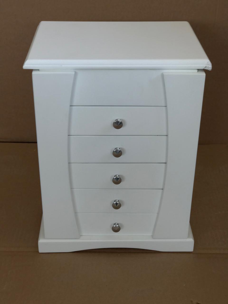 Шкаф для хранения ювелирных изделий со встроенными выдвижными ящиками и зеркалом