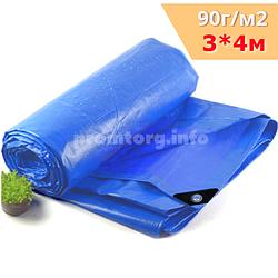 Тент полипропиленовый 3х4м 90г/кв.м с усиленными углами и люверсами