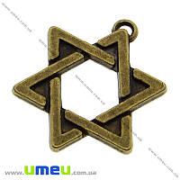 Подвеска металлическая Звезда Давида (двухстор.), Античная бронза, 23х18 мм, 1 шт. (POD-001841)
