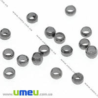 Бусины Стопперы, 2 мм, Круглые, Черные, 1 г. (BUS-007451)