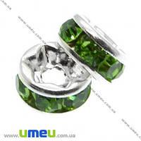 Разделитель 6 мм, Серебро, Стразы стеклянные салатовые, 1 шт. (OBN-007584)