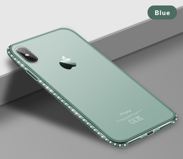 Силиконовый синий чехол с камнями Сваровски для Iphone Х XS 5.8дюймов