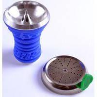 Чаша для кальяна с крышкой (силиконовая) синяя