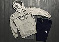 Серый с темно синим спортивный костюм с капюшоном Adidas Адидас  (РЕПЛИКА)
